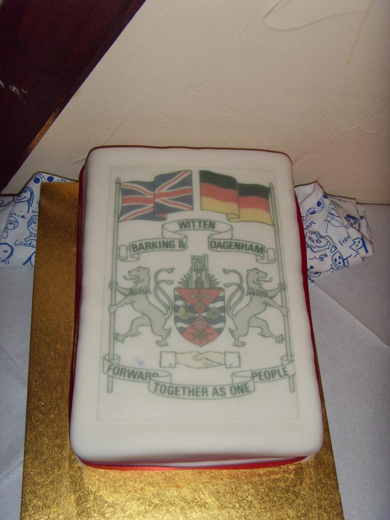 Cake presented by Barking & Dagenham Club to Witten Branch